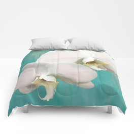 WHITE ORCHIDS - AQUA Comforters