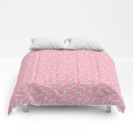 Postmodern Squiggles in Pink + Mint Comforters