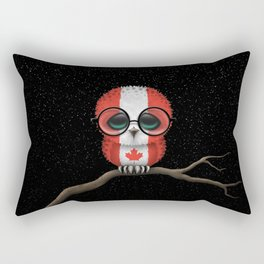 Baby Owl with Glasses and Canadian Flag Rectangular Pillow