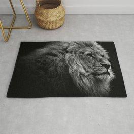 Black Print Lion Rug