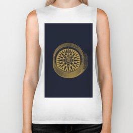 The golden compass I- maritime print with gold ornament Biker Tank