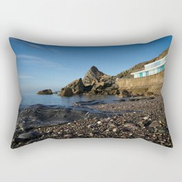 Meadfoot Beach Huts And Imposing Cliffs Rectangular Pillow