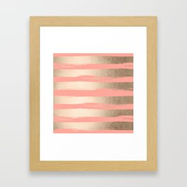 Painted Stripes Tahitian Gold on Coral Pink Framed Art Print
