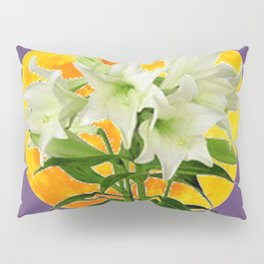 EASTER LILIES ON LILAC GOLDEN MOON ABSTRACT Pillow Sham