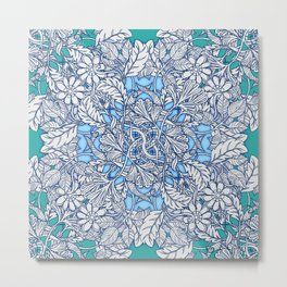 Nature Tangle - vintage botanical pattern in blue, teal & aqua Metal Print