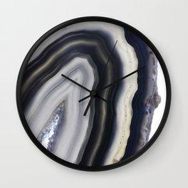 Grey agate slice Wall Clock