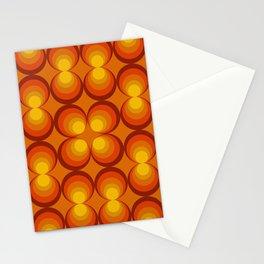 70s Circle Design - Orange Background Stationery Cards