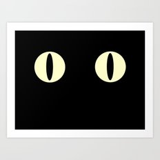 Cat Eyes (Black Cat) Art Print