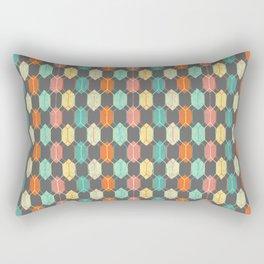 Midcentury Hexagon Argyle on Grey Rectangular Pillow