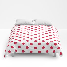 Small Polka Dots - Crimson Red on White Comforters