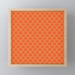 Mermaid Scales Pattern in Orange. Gold Scallops_Orange Framed Mini Art Print