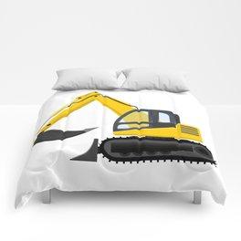 Yellow Excavator Comforters