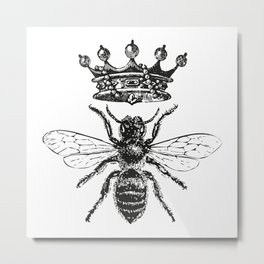 Queen Bee | Black and White Metal Print