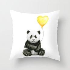 Panda with Yellow Balloon Baby Animal Watercolor Nursery Art Throw Pillow