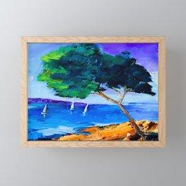 Cypress by the sea Framed Mini Art Print