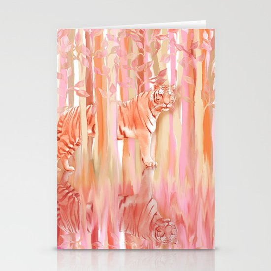 Tiger in the Trees - Painting / Collage Stationery Cards