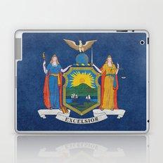 New York State Flag, vintage retro style Laptop & iPad Skin