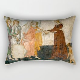"Sandro Botticelli ""Venus and the Three Graces Presenting Gifts to a Young Woman"" Rectangular Pillow"