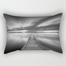 Jetty on a lake in black and white Rectangular Pillow