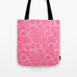 Circles Geometric Pattern Pink Bright White Tote Bag