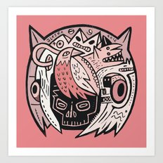 Bubble Head - pink Art Print