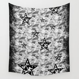 White Toxic Stars Wall Tapestry