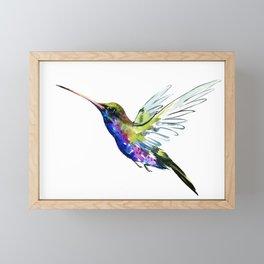 Flying Hummingbird, Blue green wall art minimalist bird Framed Mini Art Print
