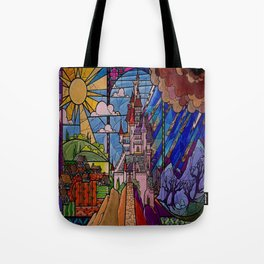 ROMANCE BEAUTY AND THE BEAST Castle Stained Glass Tote Bag