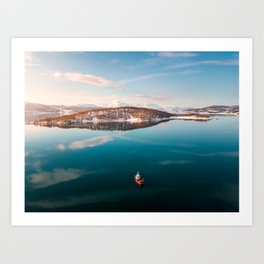 Little Red Norwegian Boat Art Print