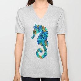 Blue Seahorse Art by Sharon Cummings Unisex V-Neck