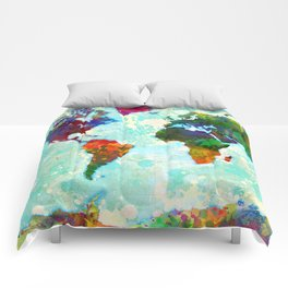 Abstract Map of the World Comforters
