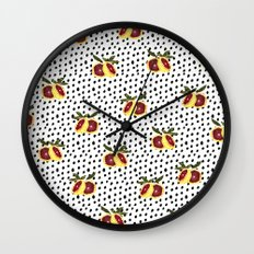 Blood Orange and Dots Wall Clock