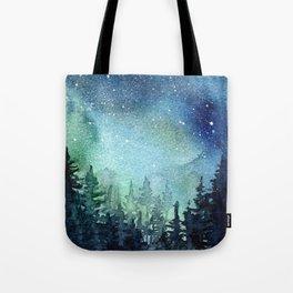 Galaxy Watercolor Aurora Borealis Painting Tote Bag