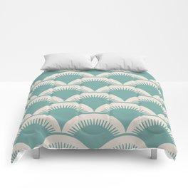 Japanese Fan Pattern Foam Green and Beige Comforters