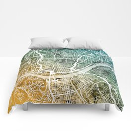 Cincinnati Ohio City Map Comforters