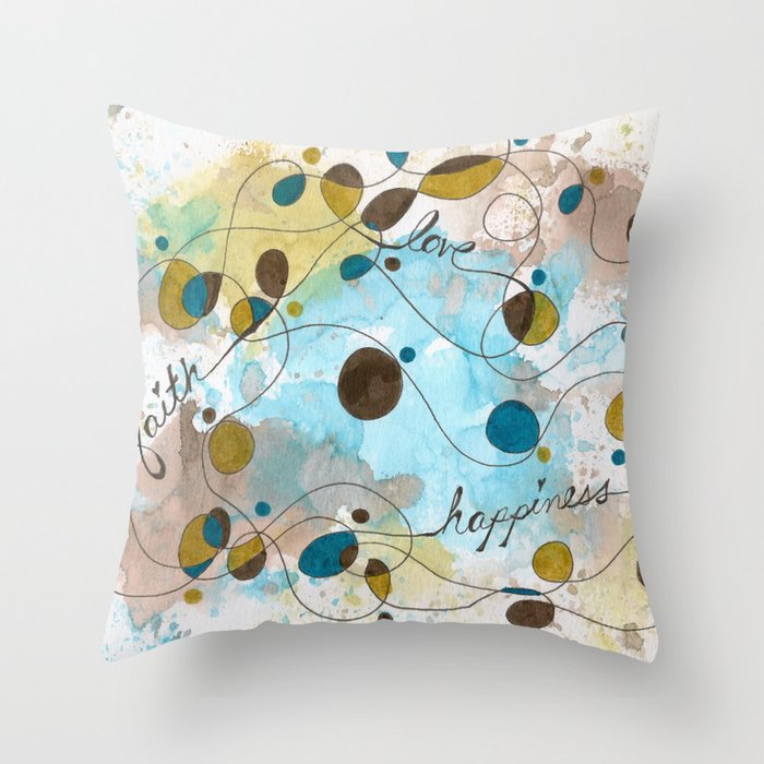 Flourish: Faith. Love. Happiness. Throw Pillow