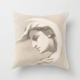 Vintage Moon Goddess Print Throw Pillow