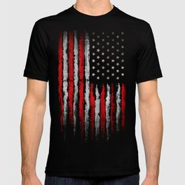 Red & white Grunge American flag T-shirt