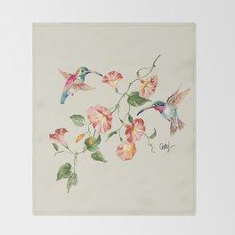 hummingbirds & morning glories Throw Blanket
