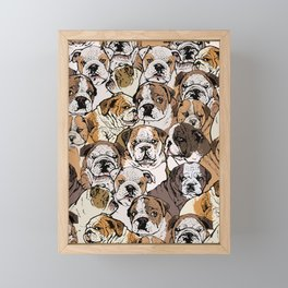 Social English Bulldog Framed Mini Art Print