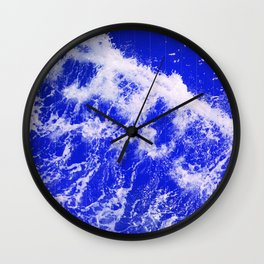 Neon Blue Waves Wall Clock