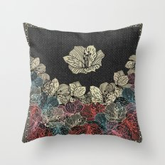 Burlap & Flowers 4 Throw Pillow