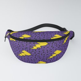 Yellow and Purple 90's Retro Lightning Bolts Pattern Fanny Pack