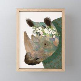 Rhino with flowers on head Framed Mini Art Print