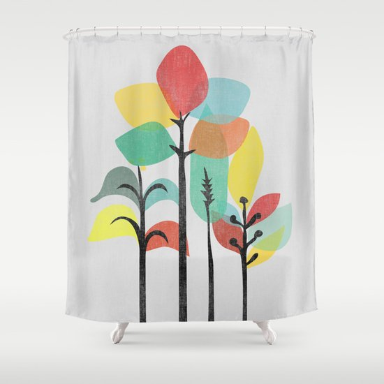 Tropical Groove (gray) Shower Curtain