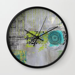 Teal & Lime Round Abstract Art Collage Wall Clock