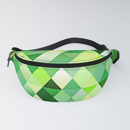 Lime Green Yellow White Diamond Triangles Mosaic Pattern Fanny Pack