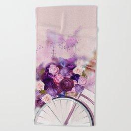 Vintag Bicycle and Flowers Beach Towel