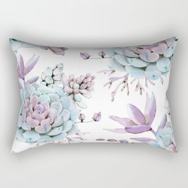 Turquoise and Violet Succulents Rectangular Pillow