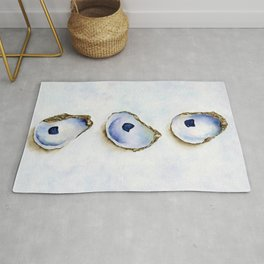 Three Oysters Watercolor by Liz Ligeti Kepler Rug